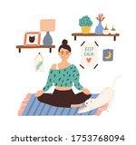 meditating woman sitting in... | Shutterstock .eps vector #1753768094