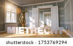 Small photo of German word Mietrecht (tenancy law) in a apartment with The Statue of Justice - lady justice or Iustitia / Justitia the Roman goddess of Justic as a concept image