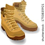 Army Boots With Shadows  Vector