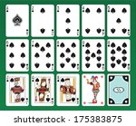 Set of playing cards of Spades on green background. The figures are original design as well as the jolly, the ace of spades and the back card.  - stock photo