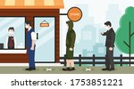 people stand in line outside... | Shutterstock .eps vector #1753851221