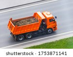 Orange Truck Dump With A Load...
