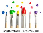 colorful paint brushes on white ...   Shutterstock . vector #1753932101