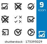 vector black check marks icons... | Shutterstock .eps vector #175395029