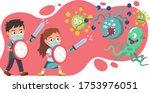 girl  boy kids using swords ... | Shutterstock .eps vector #1753976051