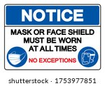 notice mask or face shield must ... | Shutterstock .eps vector #1753977851