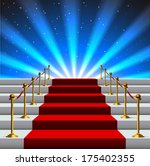 stairs covered with red carpet... | Shutterstock .eps vector #175402355