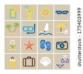 summer set icons in color.... | Shutterstock .eps vector #175403999