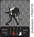 metal guitarist with guitar set.... | Shutterstock .eps vector #175404749