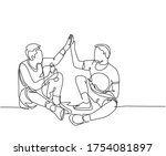one line drawing of two young...   Shutterstock .eps vector #1754081897