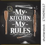 quote card   my kitchen  my... | Shutterstock . vector #1754090117