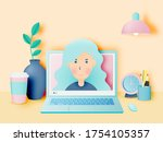 laptop on the desk in the house ... | Shutterstock .eps vector #1754105357