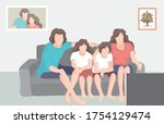 happy family watching news at... | Shutterstock .eps vector #1754129474