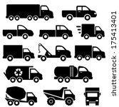 Truck icon set in black - stock vector
