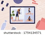 online workout classes on... | Shutterstock .eps vector #1754134571