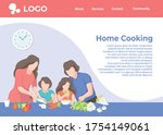 happy family cooking food in... | Shutterstock .eps vector #1754149061