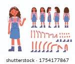 little girl character... | Shutterstock .eps vector #1754177867