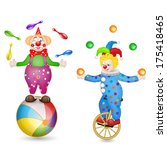 two clowns with ball and... | Shutterstock .eps vector #175418465