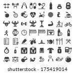 health and fitness icons on... | Shutterstock .eps vector #175419014