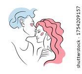 love couple line art print... | Shutterstock .eps vector #1754209157