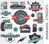set of retro vintage car labels | Shutterstock .eps vector #175422371