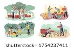 farmer gathering fruit  berry ... | Shutterstock .eps vector #1754237411