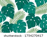 palm and monstera leaves crayon ...   Shutterstock .eps vector #1754270417