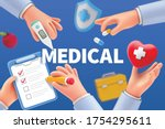 cartoon doctor hands with apple ... | Shutterstock .eps vector #1754295611