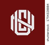 Initial letter UCN, UNC, CUN, CNU, NUC or NCU overlapping, interlock, monogram logo, white color on red background