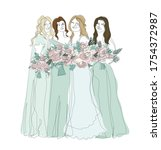 bridesmaids with bouquets of... | Shutterstock .eps vector #1754372987