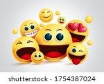 smiley emoji group vector... | Shutterstock .eps vector #1754387024