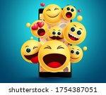 emoji smileys in mobile phone... | Shutterstock .eps vector #1754387051