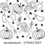 vector set of different hand... | Shutterstock .eps vector #1754417057