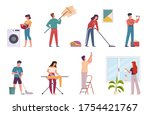 people cleaning. housework...   Shutterstock .eps vector #1754421767