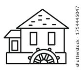 River Water Mill Icon. Outline...