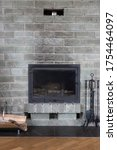 Gray Brick Wall Fireplace With...
