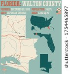 Large and detailed map of Walton county in Florida, USA.
