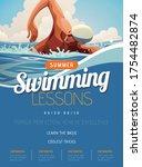 swimming lesson promotion...   Shutterstock .eps vector #1754482874