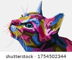 Colorful Cat Head Style Pop Art ...