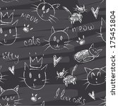 cats chalk hand drawings...   Shutterstock .eps vector #175451804