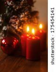 christmas decoration with candles and christmas ball - stock photo