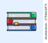 stack of colored books. vector... | Shutterstock .eps vector #1754613971