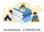 Kids Reading Book  Set Of...