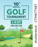 golf poster. green course ... | Shutterstock .eps vector #1754677487