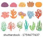 ocean coral. seaweeds and sea... | Shutterstock .eps vector #1754677637