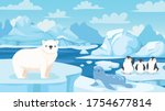 cartoon arctic landscape with... | Shutterstock .eps vector #1754677814