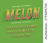 """""""melon"""". vintage sans serif 3d...   Shutterstock .eps vector #1754694734"""