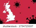 UK or England map with corona virus background ,People died form corona virus in UK or England , Virus Spreads From Wuhan China to others countries worldwide, vector illustration