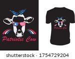 patriotic cow 4th of july t... | Shutterstock .eps vector #1754729204