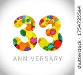 33 anniversary numbers. 33... | Shutterstock .eps vector #1754735564